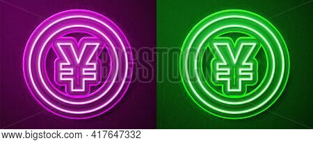 Glowing Neon Line Chinese Yuan Currency Symbol Icon Isolated On Purple And Green Background. Coin Mo