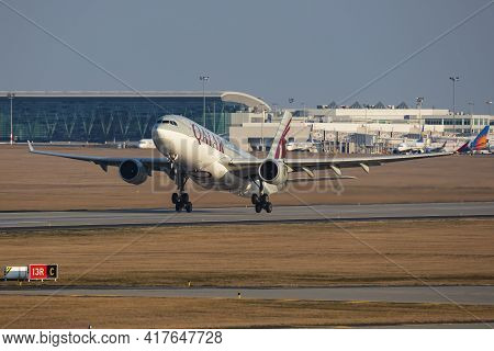 Budapest, Hungary - March 9, 2020: Qatar Airways Airbus A330-200 A7-acm Passenger Plane Departure An