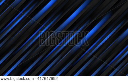 Dark Abstract Luxury Striped 3d Vector Background With Black Metallic And Navy Blue Three Dimensiona