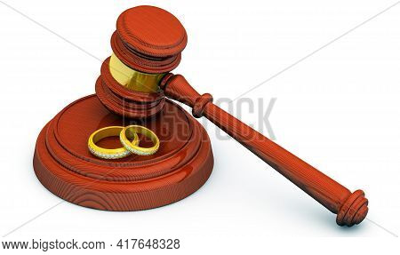 Judicial Practice In Divorce. Judge Hammer And Gold Wedding Rings On A White Surface. Divorce Concep