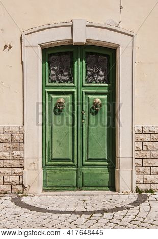 Old Wooden Italian Door In A Small Village In Abruzzo