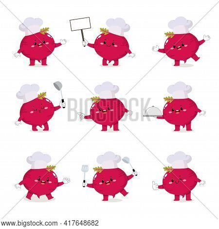 Set Of Cute Beetroot Chef Cartoon Characters With Various Activities.