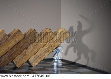 Crisis Management, Leadership, Crisis Solving Or Problem Solving Concept. Pawn Chess Stopping Wooden