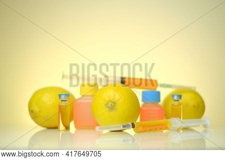 Vitamin C Ampoules. Solution For Injection. Health And Beauty.organic Cosmetics Concept.syringes, So