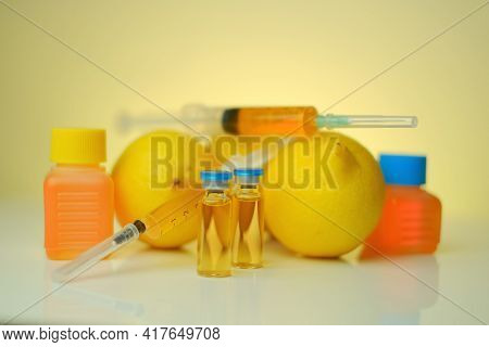 Vitamin C . Solution For Injection. Health And Beauty.organic Cosmetics Concept.syringes, Solution F