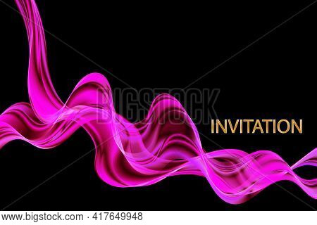 Beautiful Pink Satin. Drapery Background, Invitation, Vector Illustration