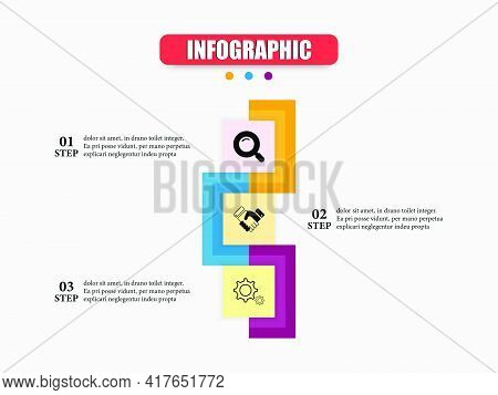 The Square Comes Together To Presents An Infographic In Three Steps. Vector Design Presentation Busi