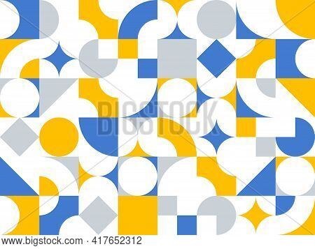 Geometric Abstract Seamless Pattern With Colorful Simple Elements Of Geometry, Wallpaper Background