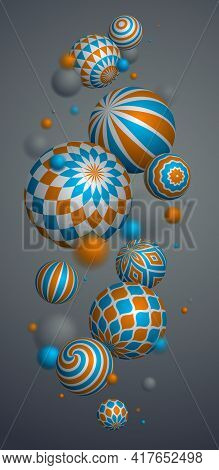 Abstract Spheres Vector Phone Background, Composition Of Flying Balls Decorated With Patterns, 3D Mi