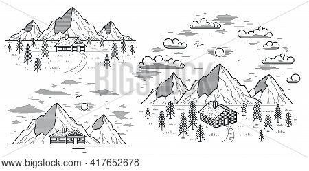 Cabin In Mountains Linear Vector Nature Illustration Isolated On White, Log Cabin Cottage For Rest I