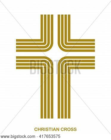 Christian Cross Modern Linear Style Vector Symbol Isolated On White, Faith And Belief Contemporary C