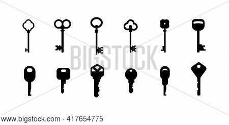 Key Collection. Set Of Outline Vector Icons. Retro And Modern House Key Silhouettes Vector Template.