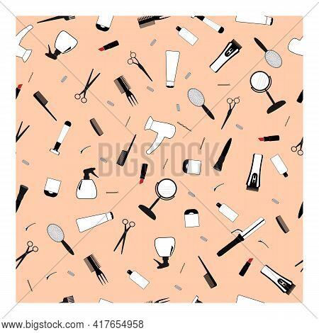 Vector Seamless Illustration Of A Pattern Of Professional Hairdressing Tools On A Pink Background. C
