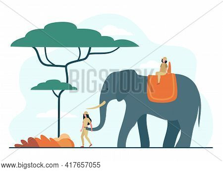 Two Tiny Girls Riding Giant Elephant In African Jungle. Flat Vector Illustration. Women Doing Safari