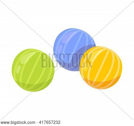 Colorful Cute Striped Candy Pieces Isolated On White Background. Minimalistic Tasty Fruity Candy For