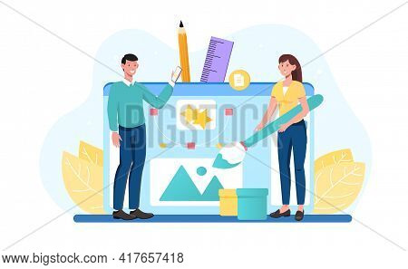Male And Female Characters Are Working On Web Design Together. Young Smiling Man And Woman Are Creat