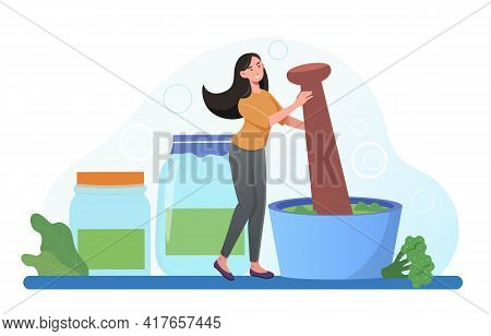 Smiling Female Character Is Grinding Plants And Vegetables In Mortar. Woman Is Making Traditional Me