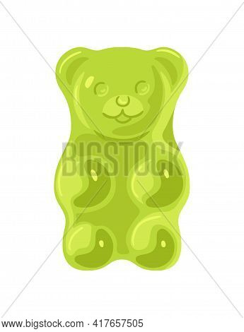 Green Jelly Marmalade Bear Isolated On White Background. Light Sweet Dessert. Tasty Low-calorie Deli