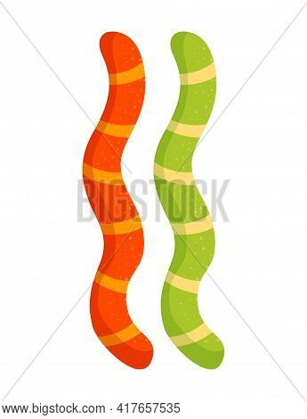 Colorful Jelly Marmalade Worms Isolated On White Background. Light Sweet Dessert. Low-calorie Delici