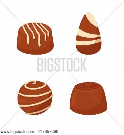 Chocolate Cute Striped Candy Pieces Isolated On White Background. Minimalistic Tasty Fruity Candy Fo