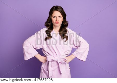 Photo Of Young Charming Beautiful Angry Unhappy Girl Pout Lips Unhappy With Procedure Isolated On Pu