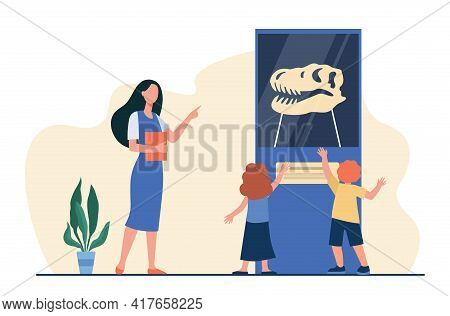 Cartoon Teacher Conducting Excursion For Children In Museum. Flat Vector Illustration. Kids With Nat