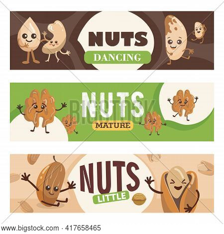 Playful Nuts Characters Banners Set Of Cartoon Vector Illustrations. Banners With Comic Pistachio, C