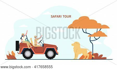 Cartoon Man And Woman Exploring African Jungle. Flat Vector Illustration. Wild Lion Standing In Fron