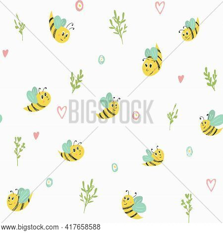 Vector Seamless Pattern With Bees And Brunches. Cute Ornament For Backgrounds, Wrapping Paper, Fabri