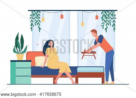 Cartoon Young Man Bringing Breakfast To Bed For Pregnant Woman. Flat Vector Illustration. Loving Hus