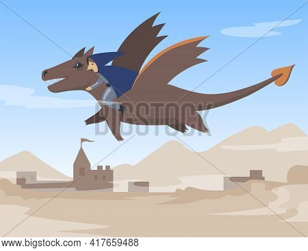 Cartoon Male Character In Cape Flying On Dragon. Flat Vector Illustration. Fairy Human Personage Fly