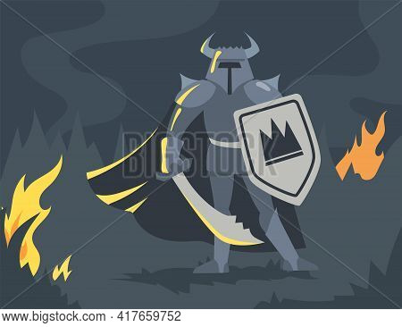 Cartoon Male Viking Character In Armor With Sword And Shield. Flat Vector Illustration. Ancient Warr