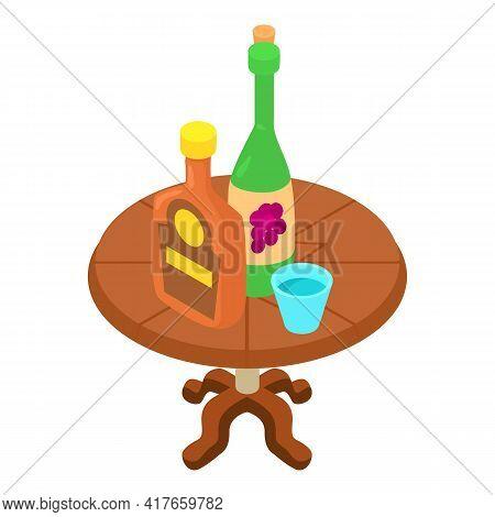 Alcoholic Beverage Icon. Isometric Illustration Of Alcoholic Beverage Vector Icon For Web