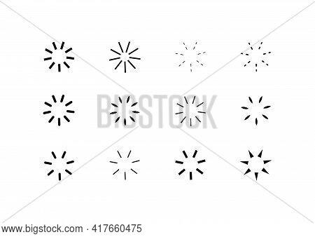 Geometric Design Elements. Radiant Spark. Vintage Sunburst. Rays Isolated. Vector Illustration