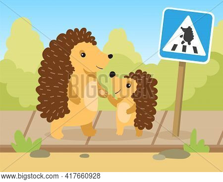 Hedgehog Mom Or Dad Going To Pedestrian Crossing With Child. Flat Vector Illustration. Cartoon Hedge