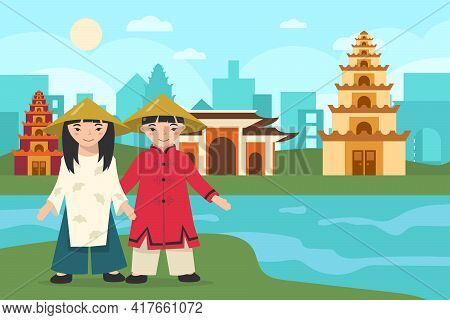 Asian Girl And Boy Wearing Traditional Clothes And Hats. Cartoon Chinese Characters In National Cost