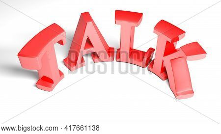 Talk Red Bent Write Isolated On White Background - 3d Rendering Illustration