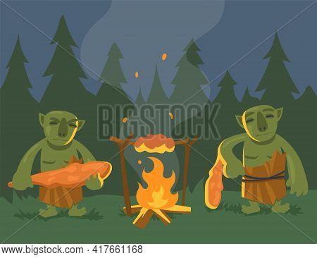 Two Cartoon Green Trolls Near Bonfire Flat Vector Illustration..angry Orcs Or Monsters With Truncheo