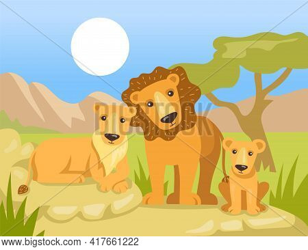 Cartoon Lion Family Under African Sun Flat Vector Illustration. Colorful Mother Lioness, Father Lion