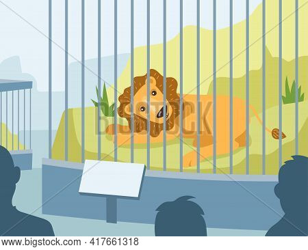 Cartoon Lion Living In Zoo Cage Flat Vector Illustration. Colorful Cute Lion Lying Behind Cage In Ci