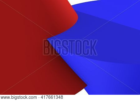 The Intersection Of Two Pieces, Red And Blue, Capture, Overlap One On The Other, 3d