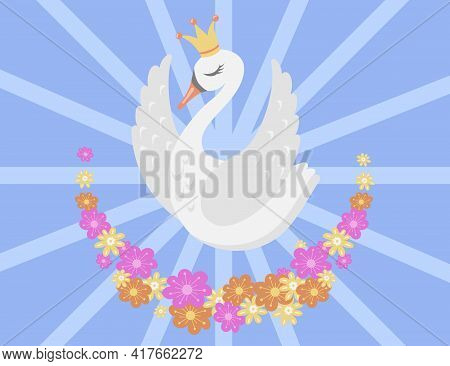 Beautiful White Swan Princess Cartoon Vector Illustration. Charming Elegant Bird Flying Among Flower