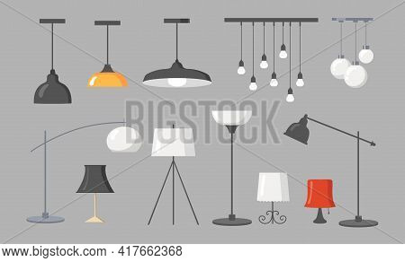 Various Lamps Flat Pictures Collection. Cartoon Modern Chandeliers, Light Pendants And Ceiling Lamps