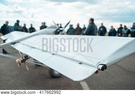 Close Up Of Wing Of Remote Radio Controlled Light Airplane At Show Or Exhibition