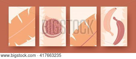 Graphic Exotic Collection Of Contemporary Art Posters. Pastel Leaves, Bananas And Guava Vector Illus