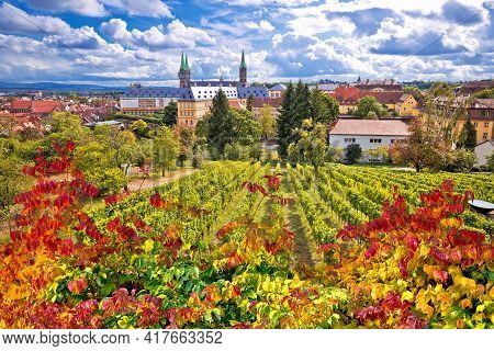 Bamberg. Town Of Bamberg View From Michaelsberg Vineyards To Bamberger Dom Square, Upper Franconia,