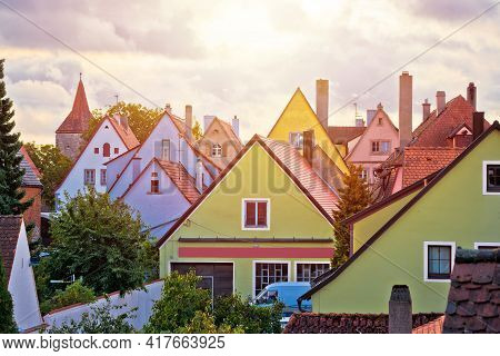 Rothenburg Ob Der Tauber Houses Rooftops View From City Walls, Bavaria Region Of Germany