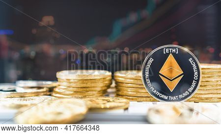 Ethereum Eth Cryptocurrency Digital Crypto Currency Coin For Defi Decentralized Financial Banking Bu