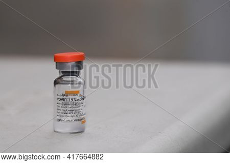 Thailand - April 9 , 2021 Close Up Of Sinovac Vaccine Vials Bottles For Can Help Stop Pandemic , Cov