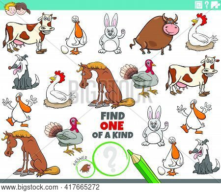 Cartoon Illustration Of Find One Of A Kind Picture Educational Game With Funny Farm Animal Character